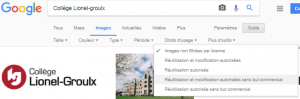 Options de droits d'usage du menu Outils dans Google Images